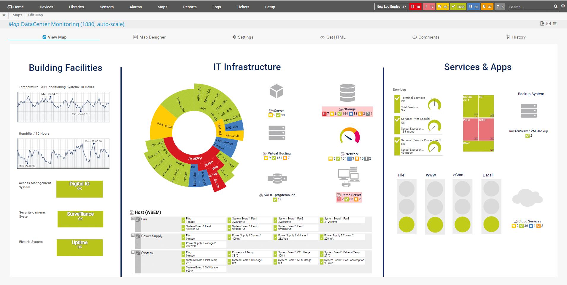 Mit PRTG-Maps individuelle Dashboards erstellen
